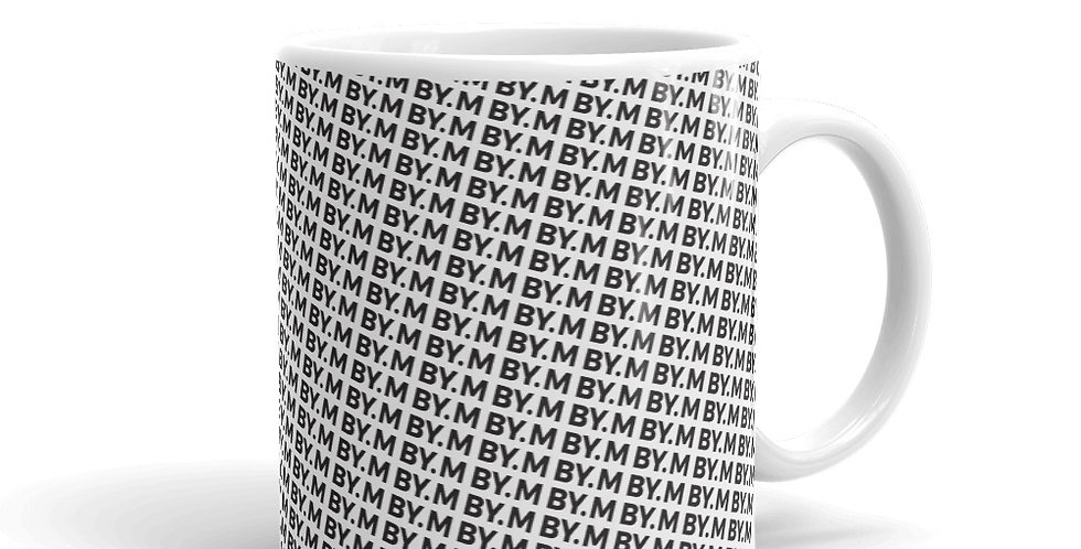 White mug BY.M pattern