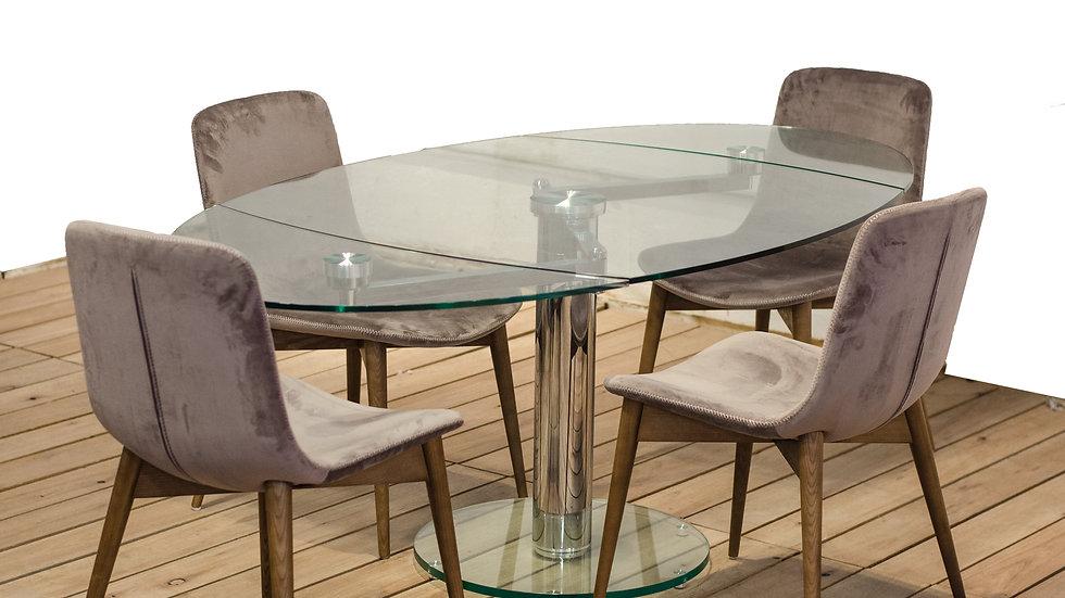 Juego Mesa Cristal extensible + 6 sillas