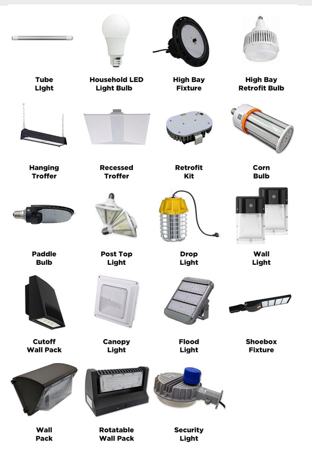 all types of commercial LED bulbs