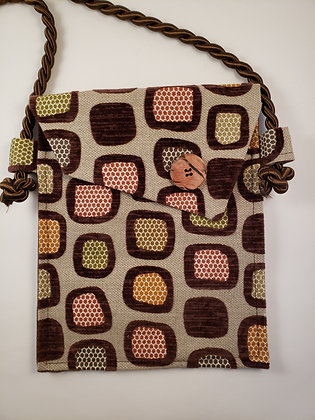 Upholstery & Deep Brown Bag with Wood Button
