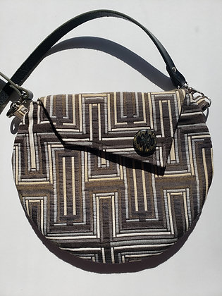 Black and White Bag with Leather Strap