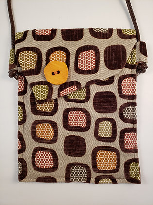 Upholstery & Deep Brown Bag with Yellow Button