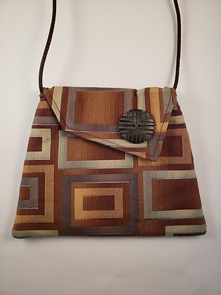 Upcycled Brown and Blue Bag