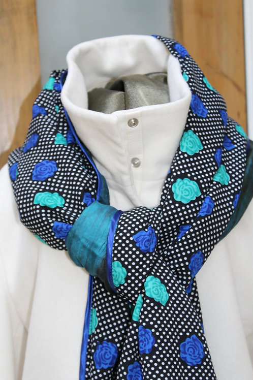Petrol blue silk/spotty and rose black and blue