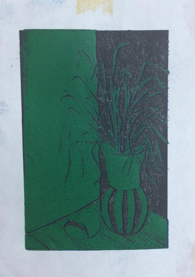Green and Black Vase