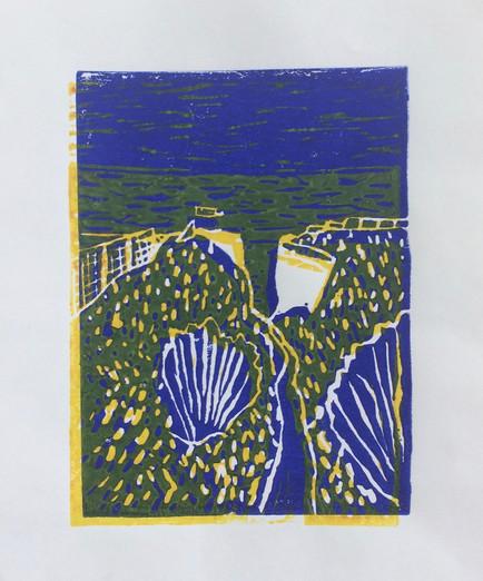 Blue path, linoprint