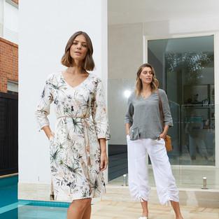 3/4 Sleeve V-Neck Linen Top  495300 - $129.95  7/8 Ruched Wide Leg Linen Pant  495700 - $139.95  3/4 Sleeve Botanical Floral Dress  495551 - $169.95