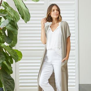 Sleeveless Tie Front Top  495322 - $109.95  Drop Shoulder Long Cardigan  495013 - $139.95  7/8 Zip Back Pant  495710 - $139.95