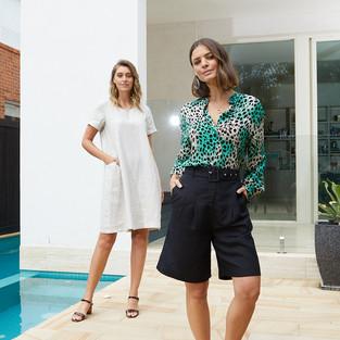 Capri Print Tie Waist Tunic Shirt  495360 - $149.95   Belted Pleat Shorts  495802 - $129.95  Short Sleeve Embroided Trim Linen Dress  495503 - $149.95