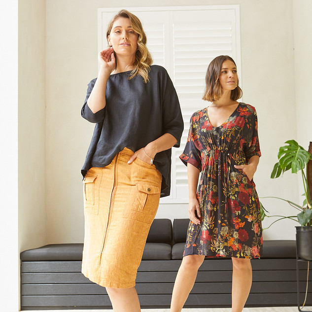 Linen Utility Skirt  495600 - $119.95  3/4 Sleeve Boxy Top  495310 - $129.95