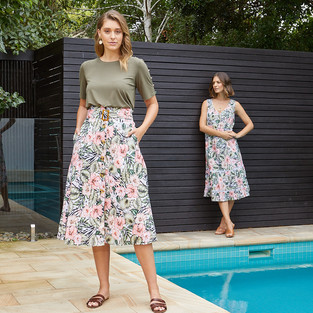 Belted Tropical Print Skirt  495613 - $129.95  Short Sleeve Button Trim Top  495216 - $109.95  Tropical Print  Tiered Midi Dress 495564 - $139.95