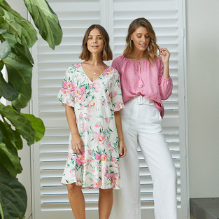 Belted Palazzo Pant  495708 - $139.95   7/8 Sleeve Gypsy Linen Top  495331 - $139.95   Ruffle Sleeve Rose Print Dress 495565 - $149.95
