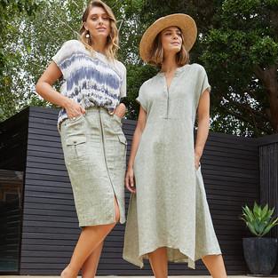 Drop Shoulder Tie Dye Print Top  495320 - $139.95   Linen Utility Skirt  495600 - $119.95   Drop Shoulder Long Linen Dress 495502 - $159.95
