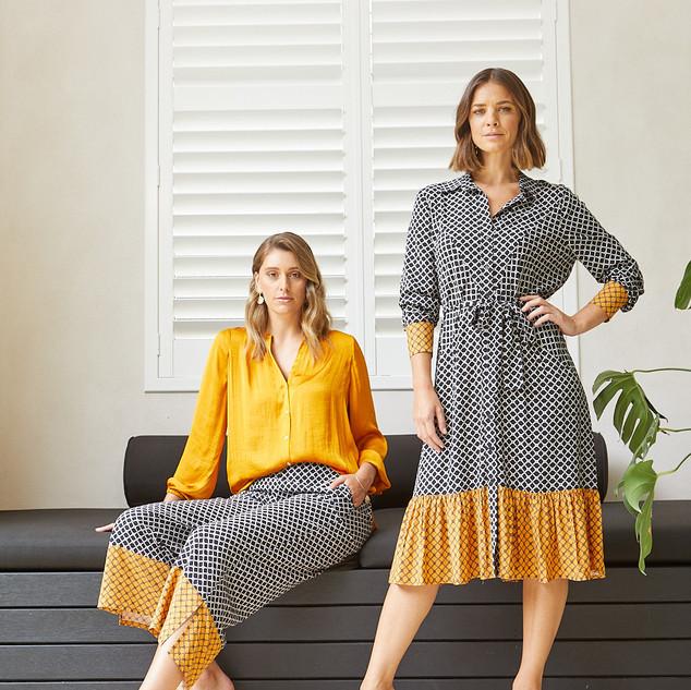 Tile Print Shirt Dress  495533 - $149.95   7/8 Sleeve Poet Blouse 495325 - $119.95  7/8 Tile Print Culotte  495711 - $119.95