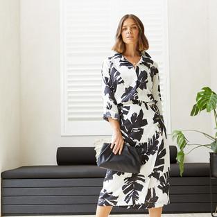 3/4 Sleeve Mono Palm Print Shirt 495370 - $139.95  Mono Palm Print Wrap Skirt  495614 - $149.95