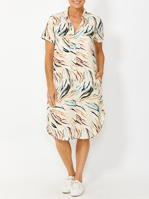 Short Sleeve Kenya Print Shirt Dress