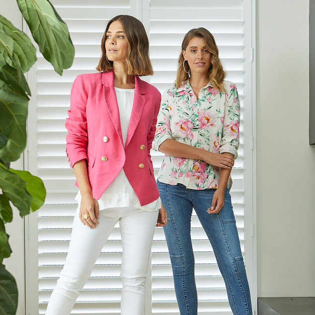 7/8 Zip Back Pant  495710 - $139.95  Linen Double Breasted Blazer  495407 - $199.95   Rose Print Shirt  495379 - $139.95   7/8 Pull On Jean  495704 - $129.95