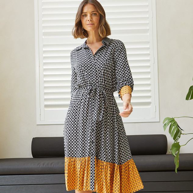 Tile Print Shirt Dress  495533 - $149.95