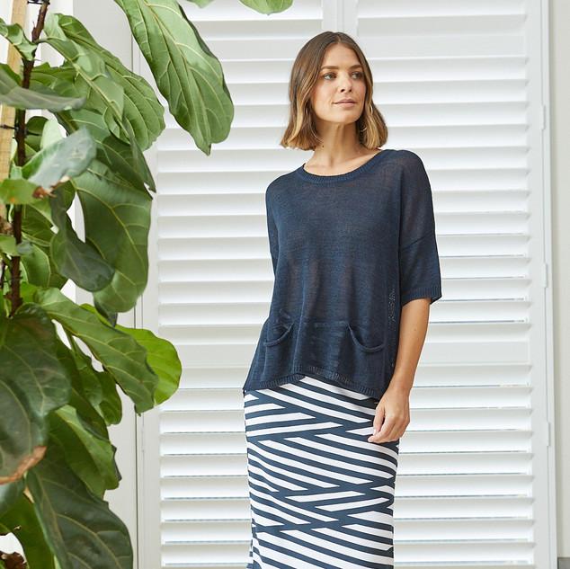 Short Sleeve Pullover  495015 - $119.95  Stripe Pencil Skirt  495609 - $109.95