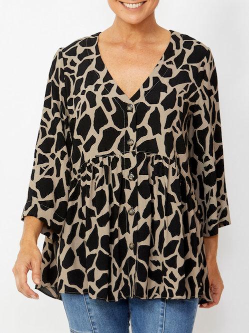 3/4 Sleeve Giraffe Print Blouse