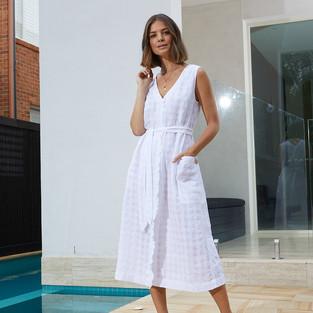 Sleeveless Frill Front Textured Linen Dress  495537 - $139.95