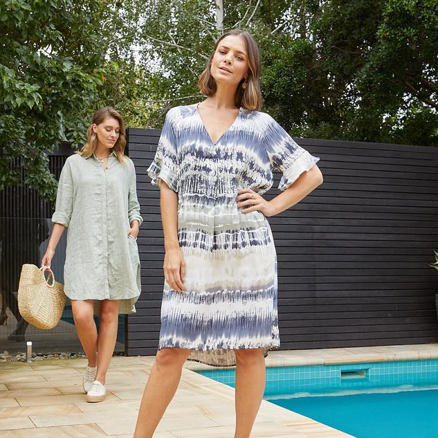 Short Sleeve Tie Dye Print Dress 495515 - $169.95  Boyfriend Linen Shirt Dress 495508 - $149.95