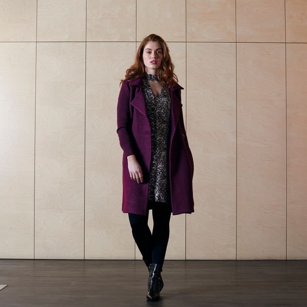 Python Print Dress  485519 - $169.00   Classic Wool Blend Knit Sleeve Coat  485417 - $329.00