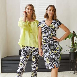 7/8 Sleeve Gypsy Linen Top  495331 - $139.95  7/8 Bloom Print Pant  495718 - $119.95   Zip Front Bloom Print Dress  495525 - $159.95