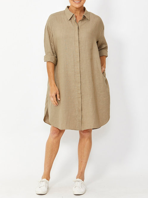 Boyfriend Linen Shirt Dress