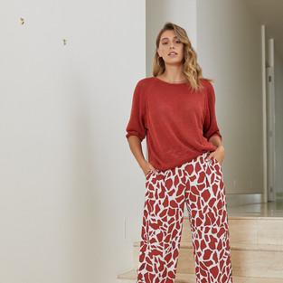 7/8 Giraffe Print Culotte  495709 - $139.95  3/4 Sleeve Pullover  495001 - $129.95