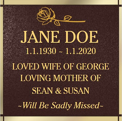 Cremation Plaque Example