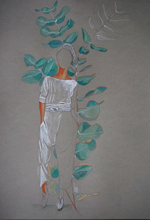 silhouette Electric feathers et eucalyptus
