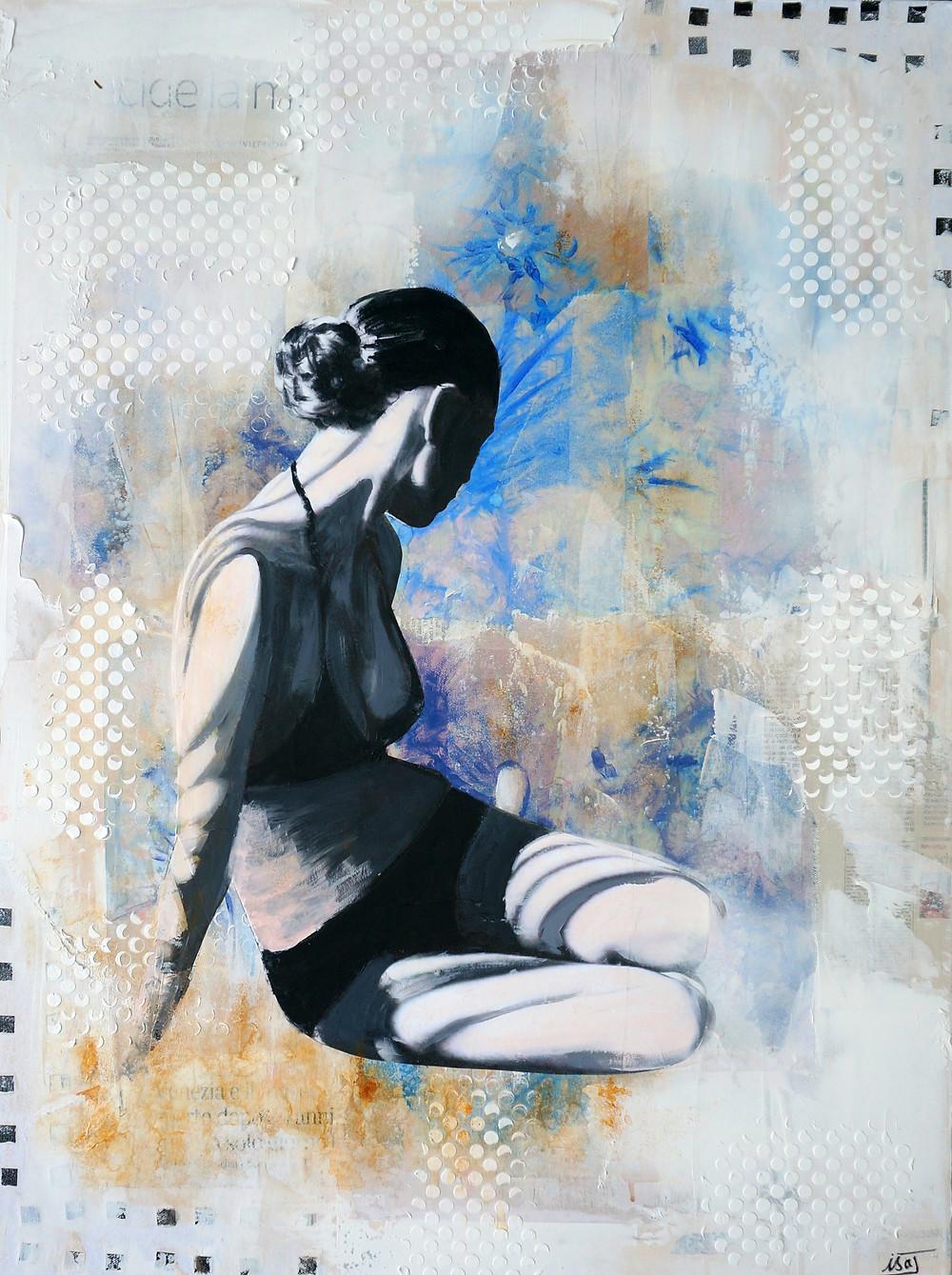 technique mixte sur toile intitulée Chardons Bleus par Isabelle Joubert