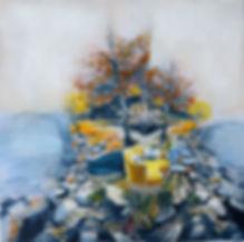 oeuvre d'art jaune et bleue avec de scanapés sur un ile