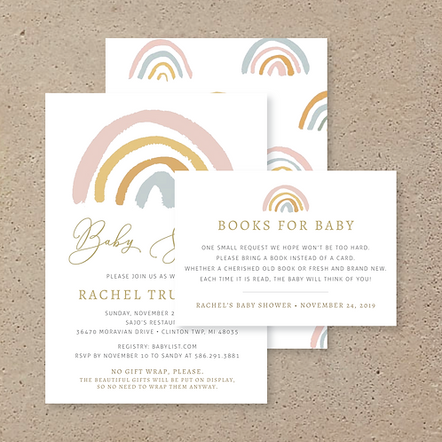 Watercolor Rainbow Baby Shower (Set of 90)