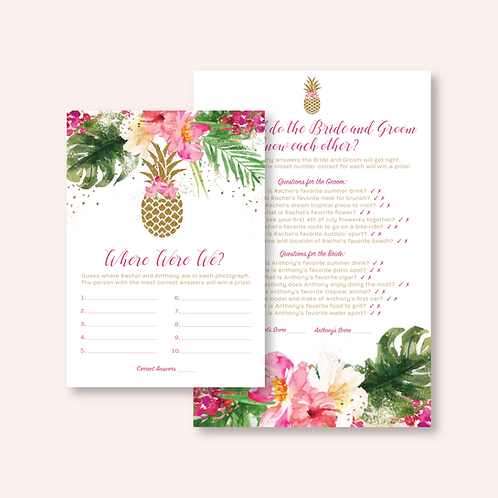 Tropical Bridal Shower Game Cards (Set of 50)