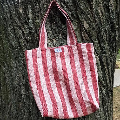 Лляна еко сумка з червоними смужками