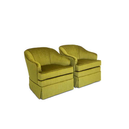 mid century swivel club chairs in a designer moire fabric
