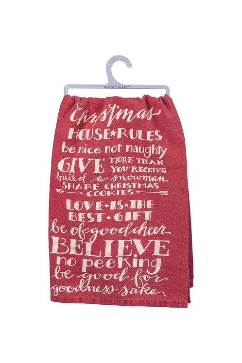 Christmas House Rules Dish Towel