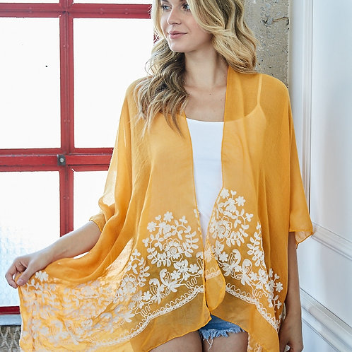 Floral Mustard Kimono