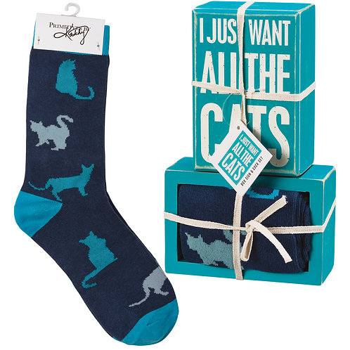 I Just Want All the Cats Box Sign & Sock Set