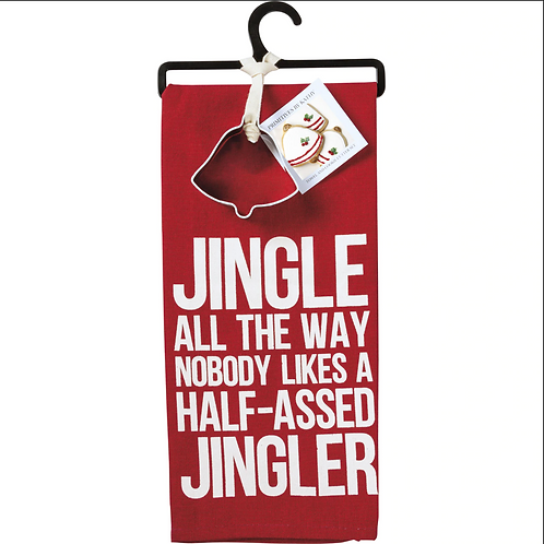 Jingle All the Way Dish Towel & Cookie Cutter Set