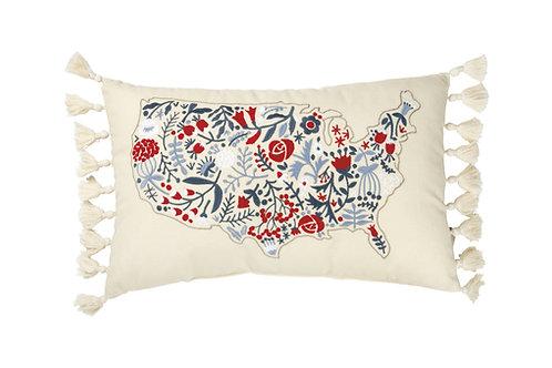 Floral USA Pillow