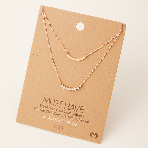 Layered Curved Bar Charm Necklace