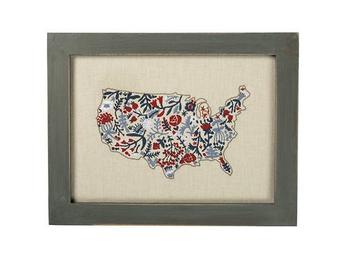 USA Floral Map Wooden Wall Decoration