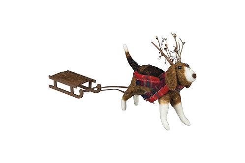 Beagle & Sled Christmas Decoration