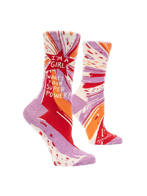 I'm A Girl, What's Your Super Power Women's Socks