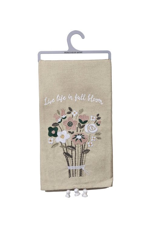 Live Life in Full Bloom Dish Towel