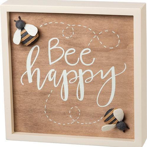 Bee Happy Box Sign