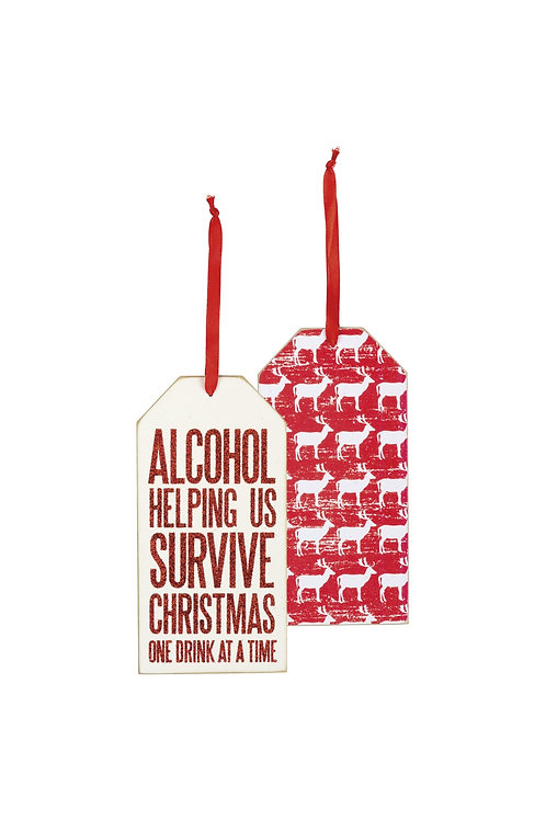 Alcohol - Helping Us Survive Christmas Wine Bottle Tag